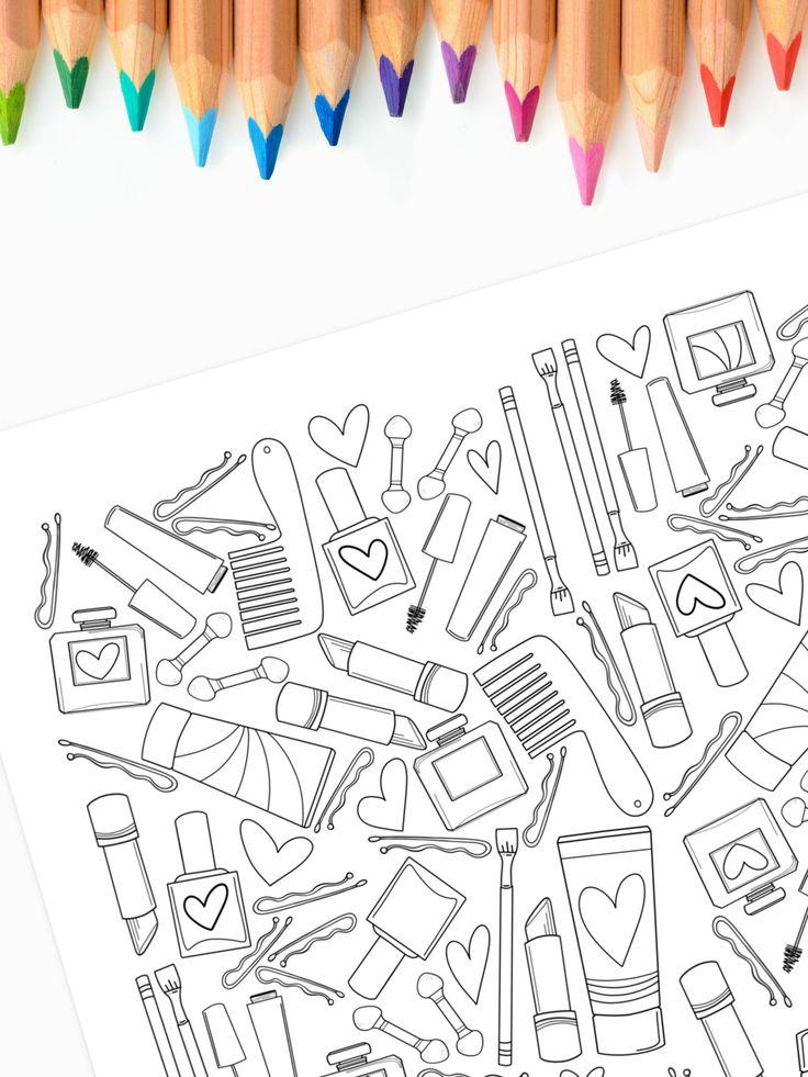 Make Up & Cosmetics Coloring Page Printable Unicorn