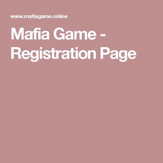 Mafia Game - Registration Page