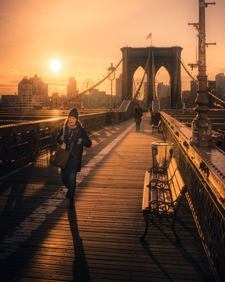 Brooklyn Bridge sunrise by @mmeyers76 by newyorkcityfeelings.com - The Best Photos and Videos of New York City including the Statue of Liberty Brooklyn Bridge Central Park Empire State Building Chrysler Building and other popular New York places and attractions.