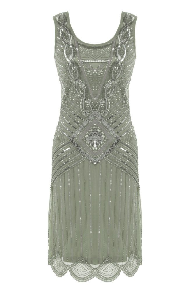 GREY SEQUIN CHARLESTON FLAPPER uk 8 - 16 GATSBY dress 20's ART DECO  silver