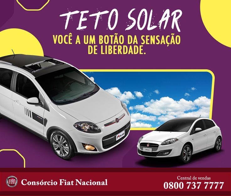 Com o teto solar elétrico Sky Wind  você vai se sentir ainda mais livre dentro dos modelos Novo Bravo 2016, Novo Palio 2015, Novo Grand Siena 2016 e Fiat 500 2015. www.iconsorciofiat.com.br