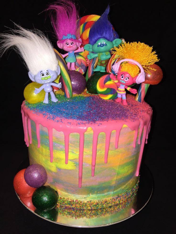 More Glitter! Dreamworks Trolls cake, edible glitter, rainbow buttercream drip cake, with gelatin balls @edible_magic