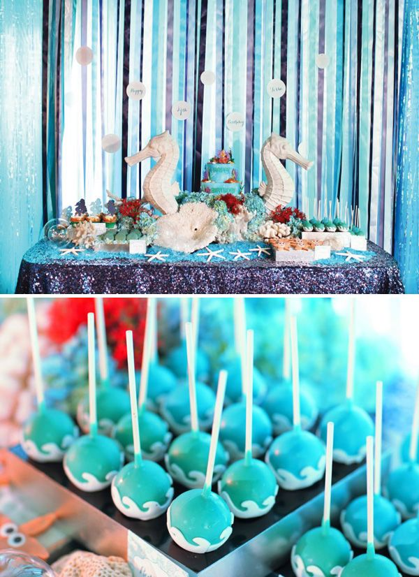 Ocean Wave Cake Pops for Mermaid Party or Under the Sea Party