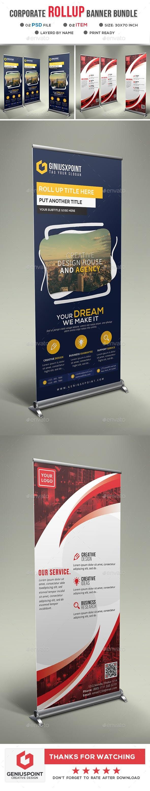 Corporate Roll Up Banner Bundle for $9 #GraphicDesign #SignageDesign #graphicres...