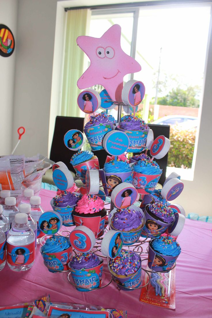 My little #girl 's #Dora #Mermaid #Adventure #pool #birthday #party - I made #personalized #cupcake #wrappers & #toppers using my daughter's image and images from Dora's Mermaid Adventure.  #doratheexplorer #doralaexploradora #dora #explorer #exploradora  #mermaid #sirena #adventure #reino #mermaidadventure #pool #piscina #party #fiesta #partyideas #ideas #crafting #kids #kidsbirthdayparty  #birthday #birthdayparty #decorate #decoration