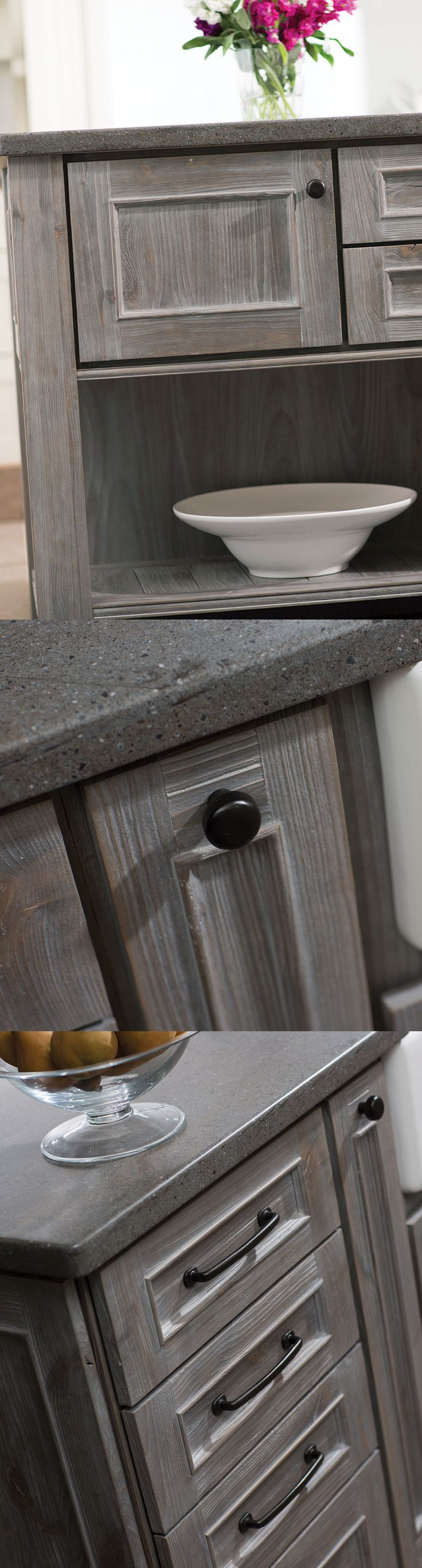 Create a dramatic, one-of-a-kind kitchen island with Dura Supreme's Weathered Finish that resembles reclaimed wood/driftwood.