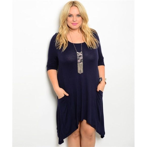 1 DAY SALE Navy Plus Size Dress Casual and comfy with pockets! The sides are a little longer. Please do not buy this listing. I will a new one when you're ready to purchase! Dresses