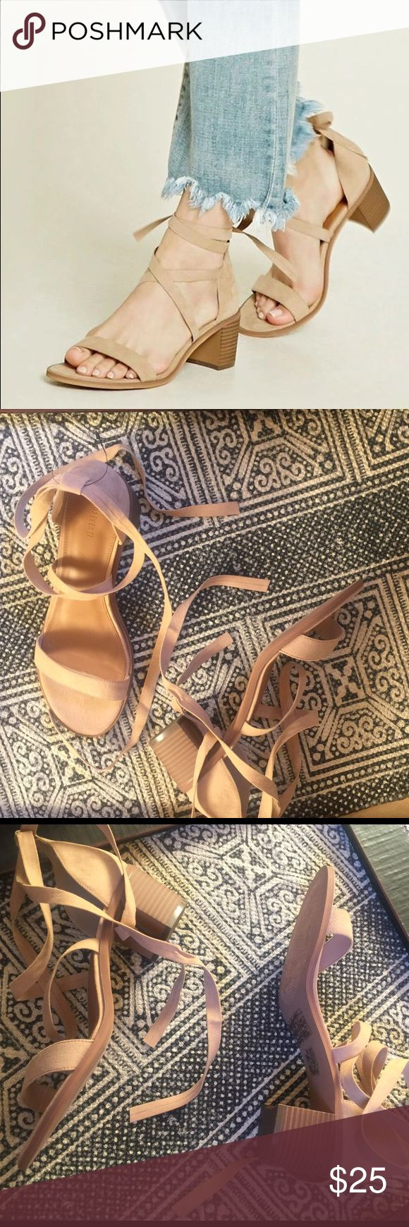 Gorgeous nude color ankle wrap sandals block heel Brand spankin new ! Never worn only tried on in store these are a beautiful nude suede with perfect sized block heel wraps up the ankle Forever 21 Shoes Sandals