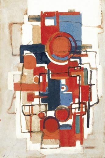 Margo Lewers. Circles with Red and Blue. Oil on paper on composition board, 75 x 50 cm
