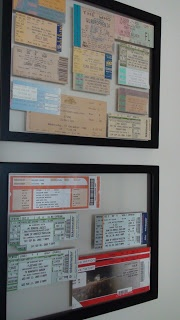 Diploma frames used as concert ticket display; for Tim's Rush tickets... all eleventybillion of them.