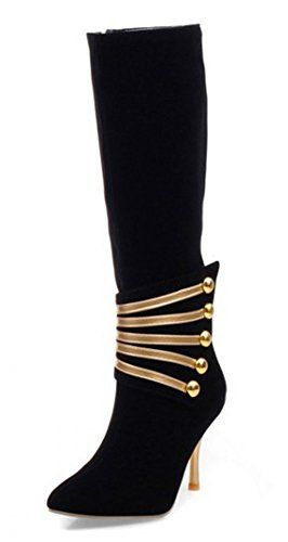 Women's Elegant Metal Pointed Toe Side Zipper Dress Stiletto High Heeled Mid Calf Boots Shoes