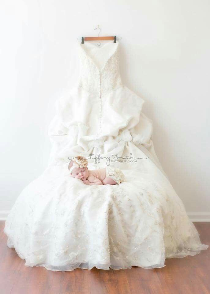 Wedding dress newborn photo