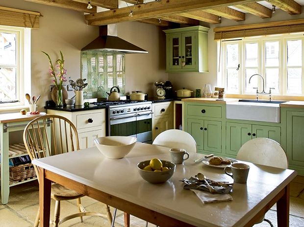 mint green country kitchen with range cooker