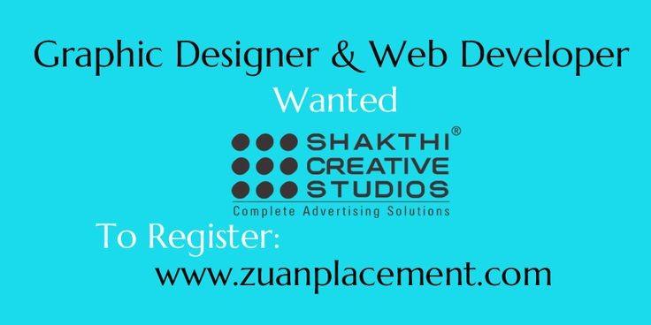 Referral Walkin drive for Graphic Designer and Web Developer from @zuanplacement Company Name: Shakthi Creative Studio Wanted: Graphic Designer & Web Developer Experience: 0-1 years http://goo.gl/Ry6fBt #webdesigner #webdeveloper #Trainee #wanted #IT #Jobs #Interview #graphicdesigner
