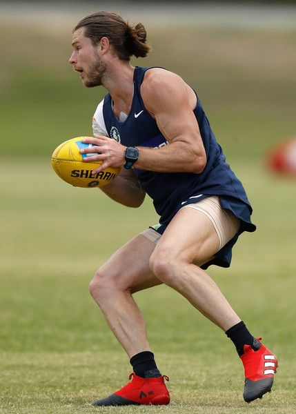 Bryce Gibbs of the Blues in action during a Carlton Blues AFL training session at Southport Sharks Oval on December 18, 2016 in Gold Coast, Australia.