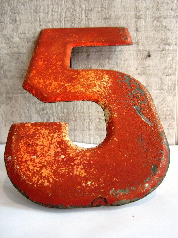 vintage number 5 | Vintage Sign Number 5 Marquee Red Metal
