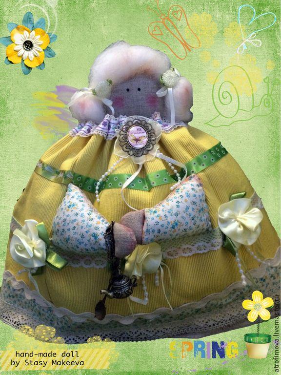 Кукла Тильда-Толстушка на чайник - желтый,зеленый,грелка на чайник,аксессуары для кухни