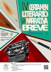 Cartel IV Certamen literario narrativa breve Biblioteca UCA. Creado por Miguel Álvarez Delgado