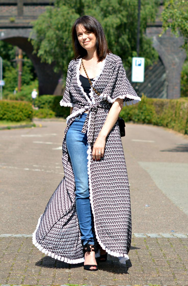 Wearing Dodo Bar Or maxi wrap dress over jeans as Duster coat on RetroChicMama - Fashion over 40 & getting the most from your wardrobe