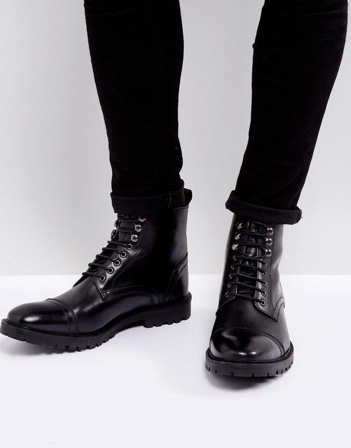 Base London Siege Leather Lace Up Boots