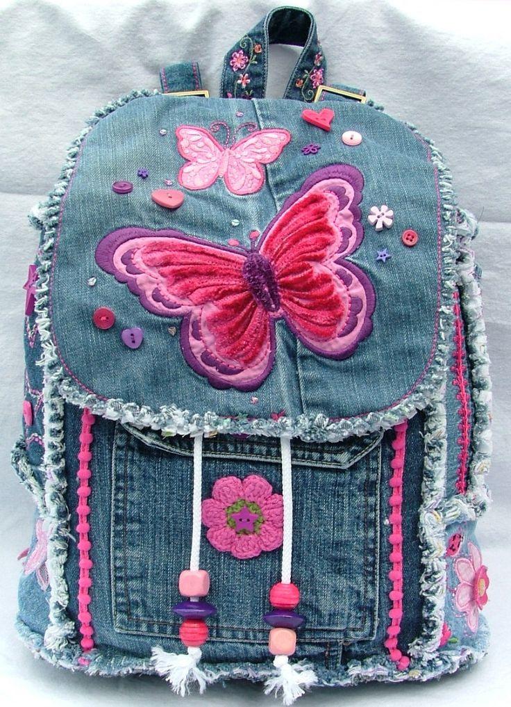 Girl's butterfly denim patchwork backpack от poppypatchwork