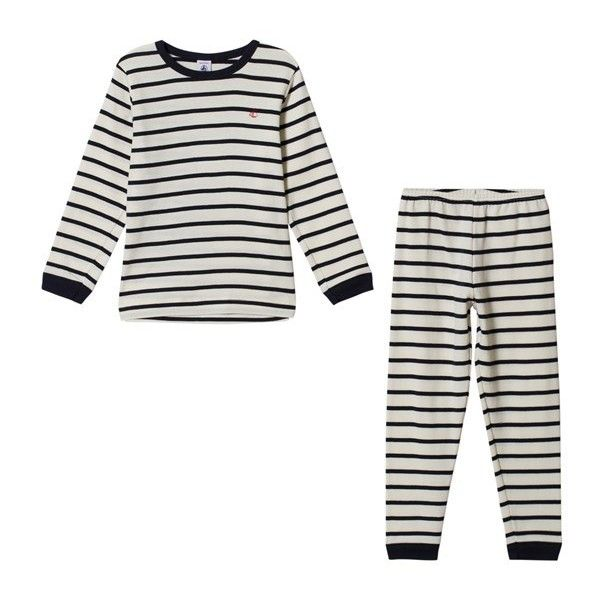 Petit Bateau Striped Pyjamas ($37) ❤ liked on Polyvore featuring intimates, sleepwear, pajamas, petit bateau, striped pjs, striped pyjamas, petit bateau pajamas and striped pajamas