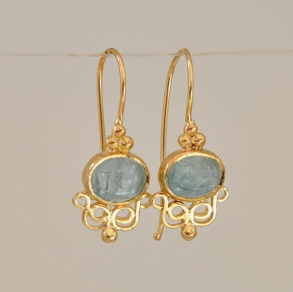 Aquamarine Earring Dangle 14k Gold Earrings March Birthstone And Gemstone