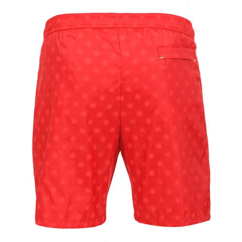 LIDO 2 MID-LENGHT BOARDSHORTS COLOR RED Made in Italy red Jacquard nylon LIDO 2 mid-length boardshorts. Two front pockets and a small press stud pocket featuring an hexagonal metal decoration. Back pocket. Internal net. Elastic waistband with adjustable drawstring. COMPOSITION: 100% POLYAMIDE. Model wears size L he is 189 cm tall and weighs 86 Kg.