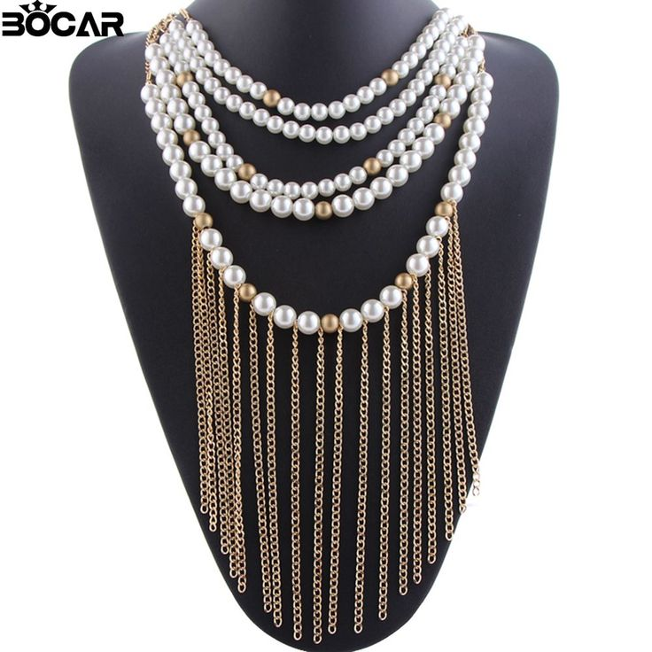 Hot Selling 2016  Multilayer Imitation Pearl Necklace For Women Long Chain necklace Tassels Pendant Statement Necklace #10042