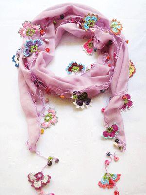 オヤスカーフ・カラフルな手編みのガーゼスカーフ☆ - トルコ雑貨・トルコ土産専門店 NOVAROMA