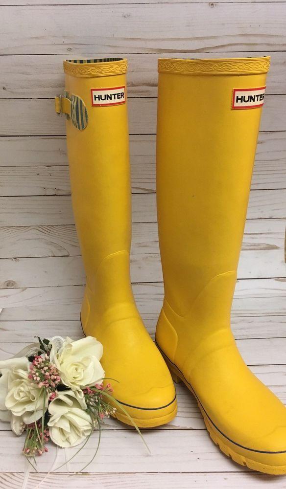 Hunter Festival Rain Boots Yellow Womens Size 7 Tall Yellow Buckle Blue  Stripe