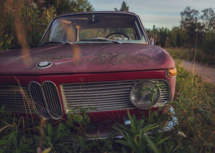 En gammal BMW ligger i ett dike någonstans och slåss mot naturen. Mossa och rost tar sakta överhanden.