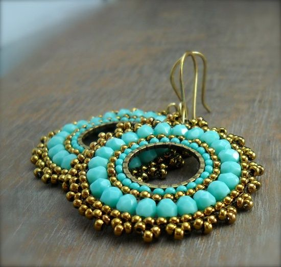 Boho Chick Bead Woven Medallion Earrings by HeidiLeeDesign on Etsy