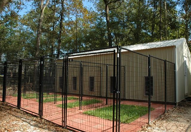 Ideas for kennels... But with much less brick, more grass, and more spacious