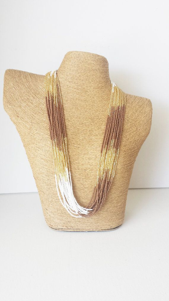 Gold brown and white necklace seed bead by StephanieMartinCo