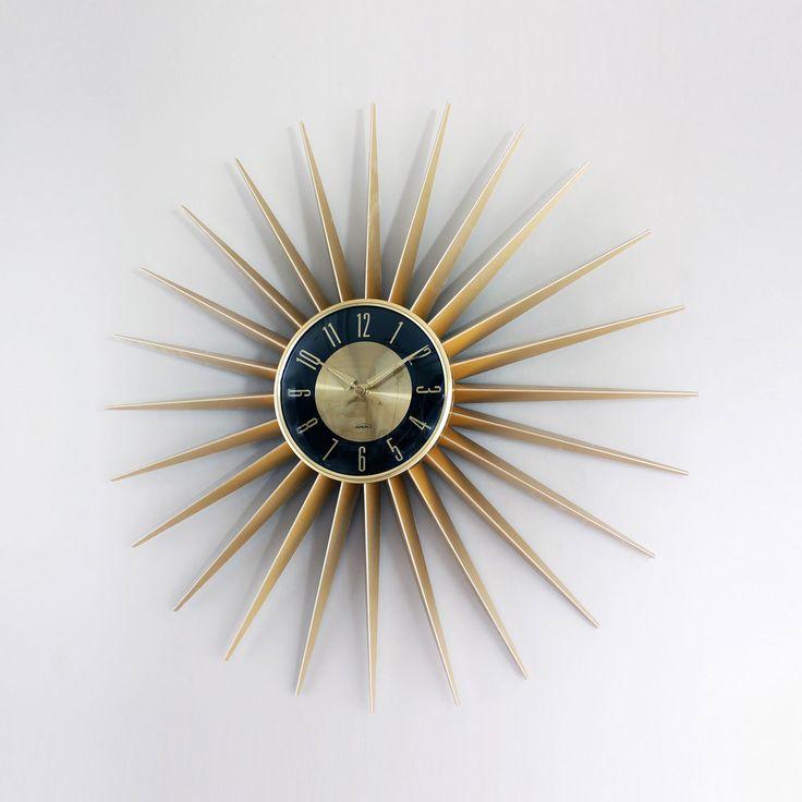 Gold Starburst Wall Clock Dotandbo Com For The Home