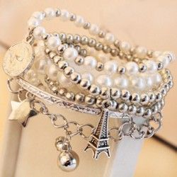 unieke vrouwen sieraden goud metaal parel meerlaagse hanger armband