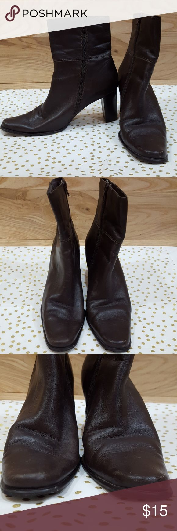 """VINTAGE Leather Heeled Boots in EUC Brown leather side zip boots with 2"""" heels by apostrophe. From the mid 90s Apostrophe Shoes Heeled Boots"""
