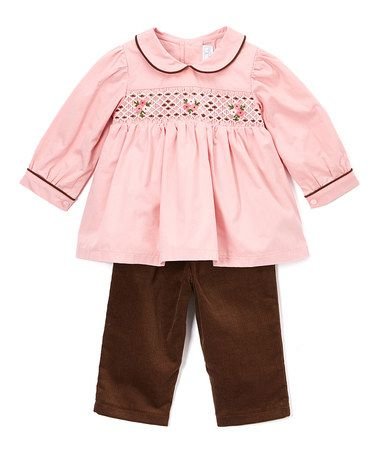 This Maroon & Brown Smocked Top & Leggings - Infant & Toddler is perfect! #zulilyfinds