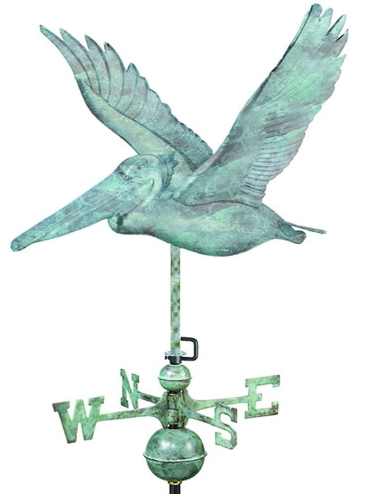 The Pelican Standard Weather Vane makes the perfect crowning accent to your home. This handcrafted and charming weather vane will add sophistication and intricate style to your home. Created from meta