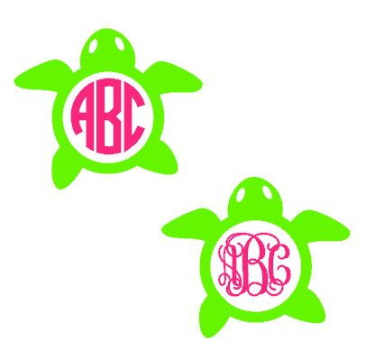 4 Turtle Monogram Vinyl Decals by DTBoutique on Etsy, $5.00