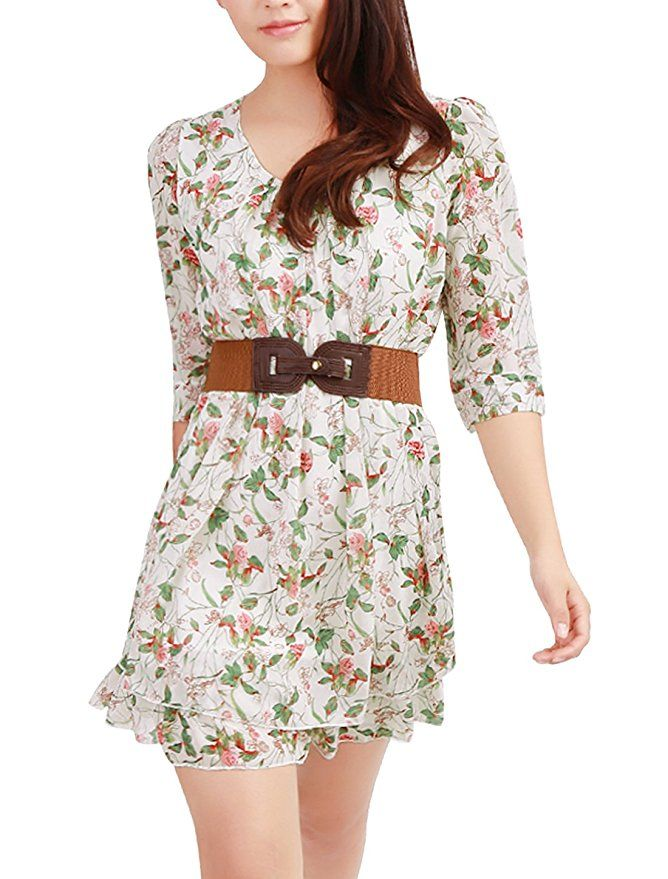 5c13108fc5 Allegra K Women Layered 3 4 Sleeve Casual Floral Short Dresses Green X-Small