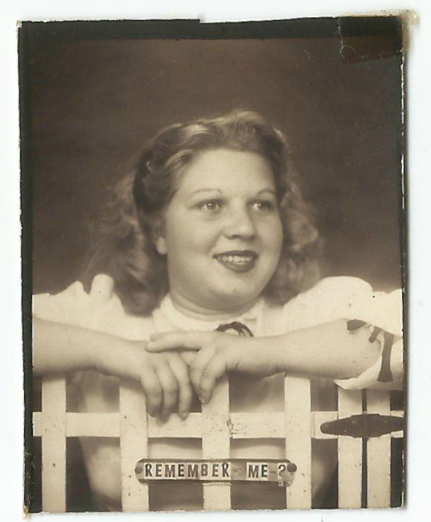 Chubby Lady Picket Fence Remember Me Photobooth Old Vintage Photo Snapshot G2705 | eBay