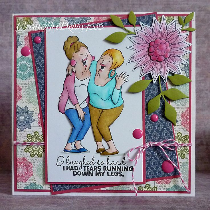 Laughing Set from Art Impressions. Ai Girlfriends line. Handmade friendship or birthday card.