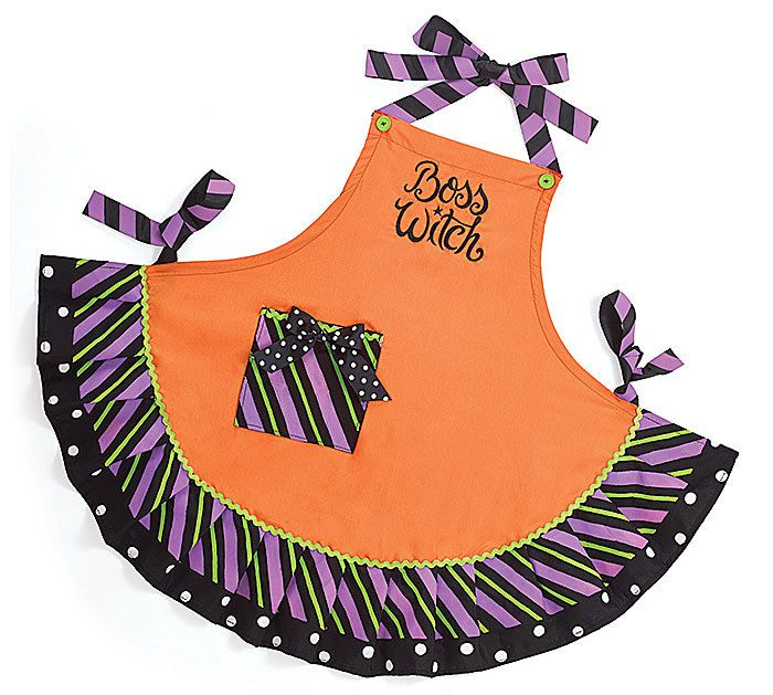 ADULT BOSS WITCH HALLOWEEN APRON - With Love Home Decor