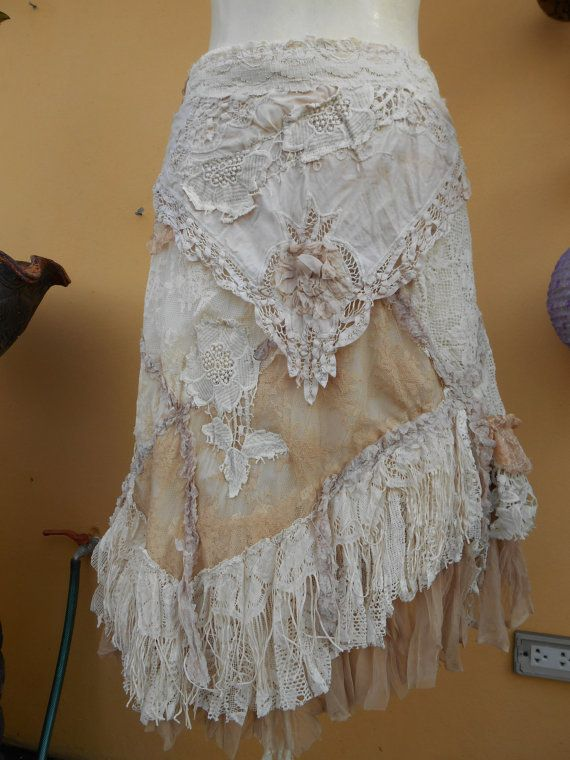 "vintage inspired extra shabby wrap skirt/shawl...a work of art 36""  across plus ties...small"