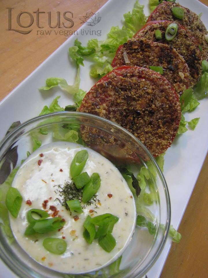 Almond crusted organic tomatoes with dill cashew cream.
