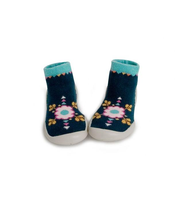 Collegien Slipper Socks Flower Power navy