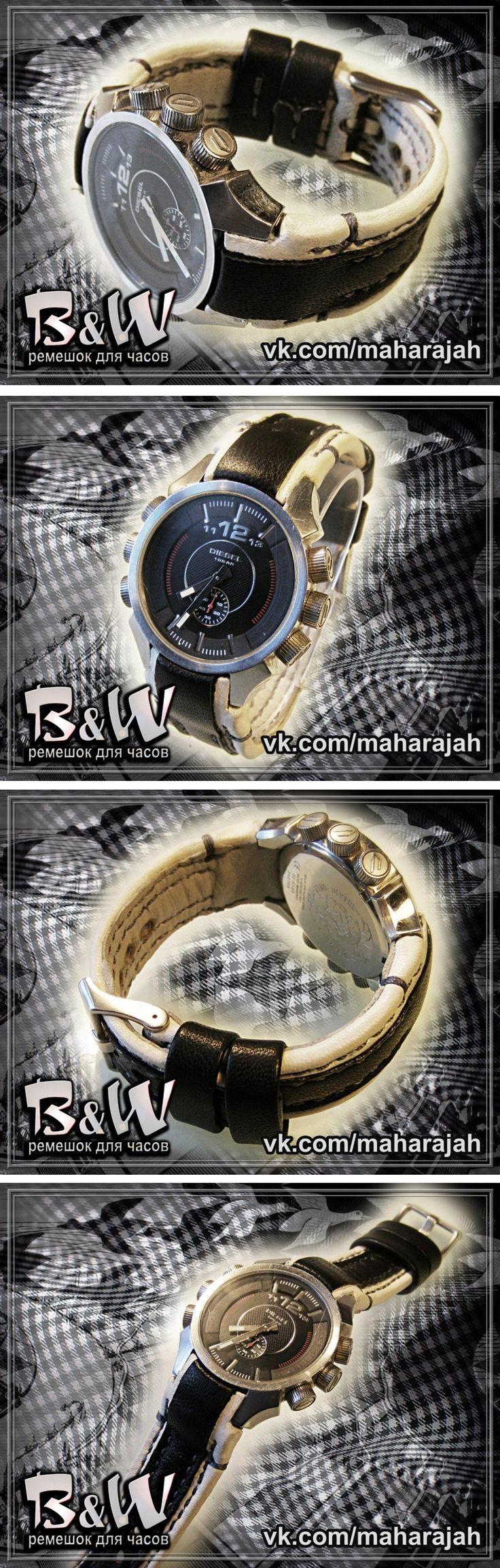Watchbands Diesel. Браслет для часов Diesel. Натуральная кожа, прошивка лавсановой нитью в две иглы.
