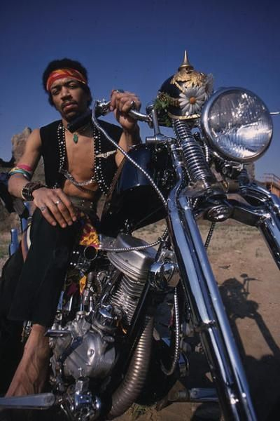 Jimi Hendrix photographed on a chopper, used as the cover for the compilation album called 'South Saturn Delta'. via themotolady.com